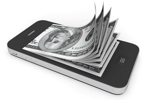 Money in Mobile Phone on a white background